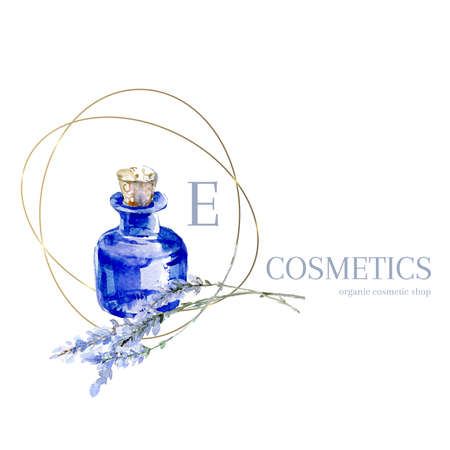 Watercolor hand drawn lavender logo. Provence blue vial with lavender. Natural retro product emblem.