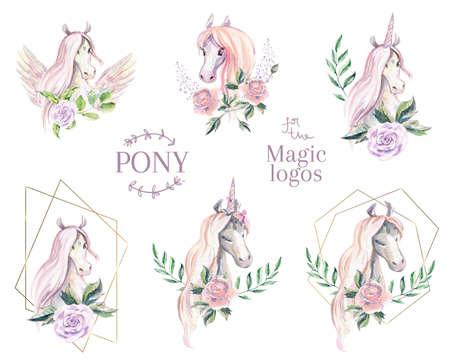 Magic pony logo. Collection of watercolor logotype with horse, unicorn, pegasus.