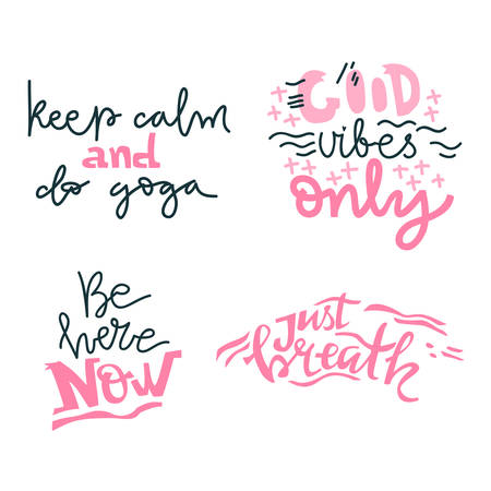 Yoga vector lettering. Collection of motivation quotes. Flat minimalist style. Like paper cut. Çizim