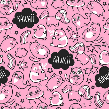 Kawaii cute seamless pattern with super cute animals jellyfish, panda, bear, pony, penguin, fur seal, seal, cat, kitten, rabbit, hare and elements stars and clouds. Vector outline llustration
