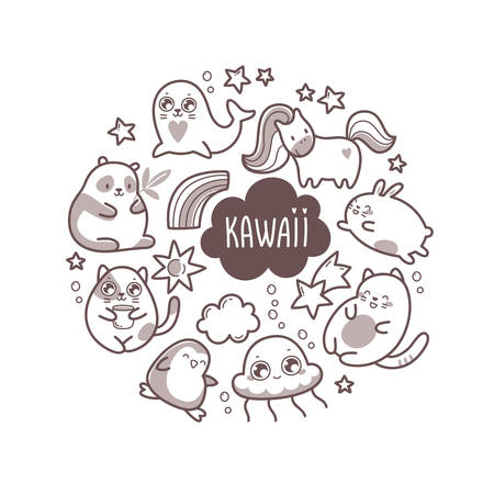 Kawaii cute round illustration with super cute animals jellyfish, panda, bear, pony, penguin, fur seal, seal, cat, kitten, rabbit, hare and elements stars and clouds. Vector outline llustration Illustration