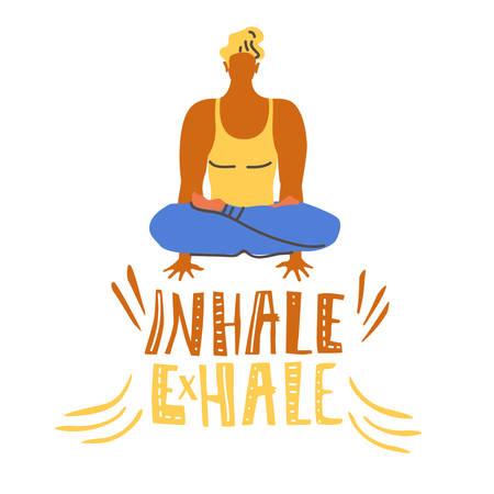 Yoga vector lettering. Inhale, exhale. Sitting man, balance Flat minimalist style Illustration