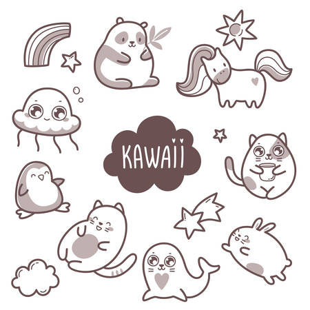 Kawaii cute collection of super cute animals jellyfish, panda, bear, pony, penguin, fur seal, seal, cat, kitten, rabbit, hare and elements stars and clouds. Vector outline llustration Illustration