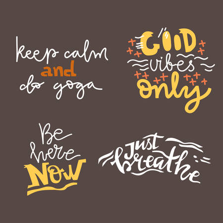 Yoga vector lettering. Collection of motivation quotes. Flat minimalist style. Like paper cut. Illustration