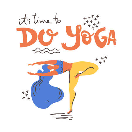 Yoga vector lettering. Its time to do yoga. Woman in asana. Flat minimalist style.