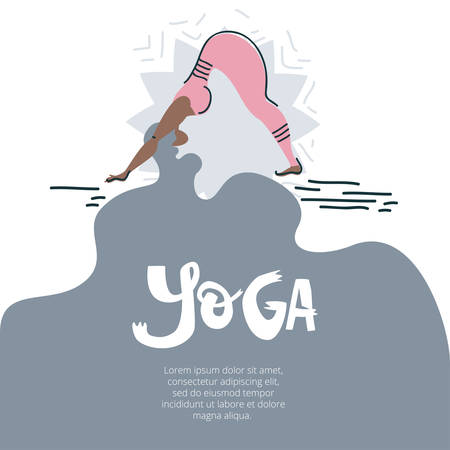 Yoga background illustartion with woman in asana, text on the beautiful hair. Flat folk illustration