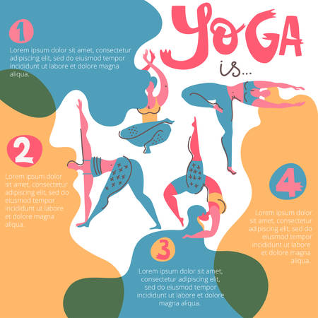 Yoga infographic poster with women with beautiful hair. Folk flat scandinavian style. Illustration