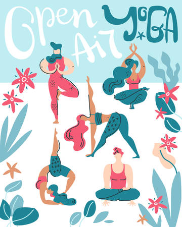 Vector poster with people do yoga on the air among tropical leaves. Open air gymnastic. Hand lettering.