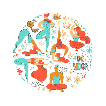 Round vector illustration with yogis people, plants and flowers. Flat simple graphic, scandinavian style. Yoga practise.