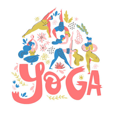 Yoga poster in folk scandinavian style with yogis, plants and lettering. Flat vector illustration. Bright colors.