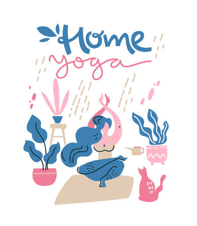 Woman do yoga by self at home.Cat and home plants around. Vector flat illustration. Home yoga, lettering