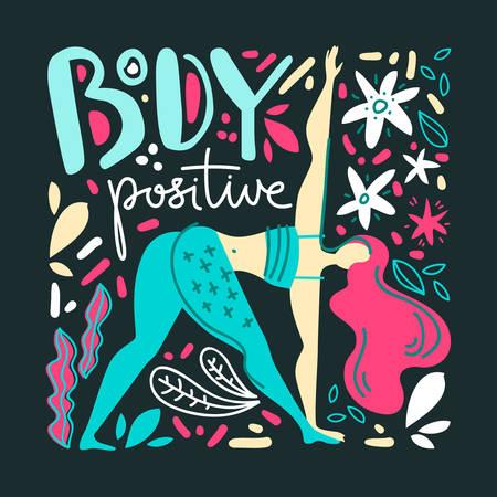 Body positive illustration. Woman do yoga exercise. Square composition. Folk flat scandinavian style.