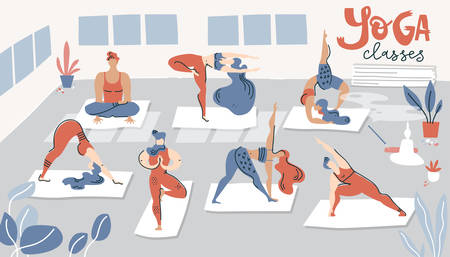 Illustration with yoga classes. Men and woman do yoga in the hall. Flat simple style.