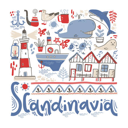 Scandinavia. Hand lettering with design elements in the square. Vector  illustration  イラスト・ベクター素材