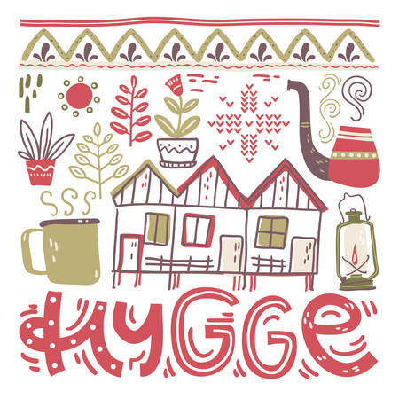 Hygge. Hand lettering with design elements in the square. Vector illustration, flat naive style