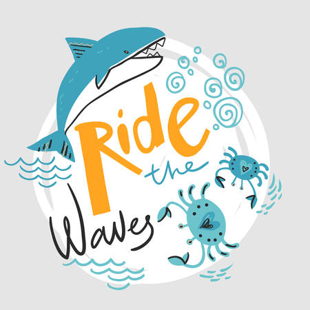 Ride the wave. Hand lettering with killer whale and crabs. Vector round illustration. Poster in Scandinavian style
