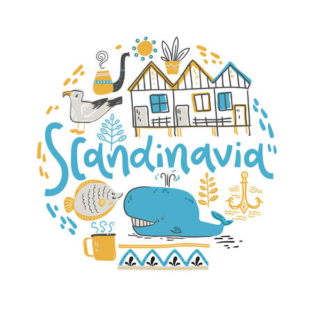 Scandinavia. Hand lettering with design elements in the round. Vector  illustration  イラスト・ベクター素材