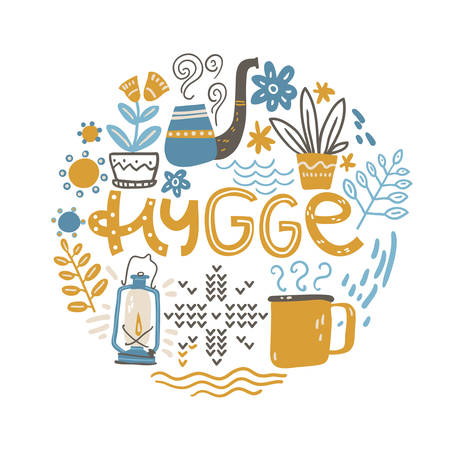 Hygge. Hand lettering with design elements in the round. Vector illustration, flat naive style