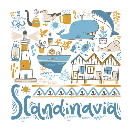 Scandinavia. Hand lettering with design elements in the square. Vector  illustration Ilustracja