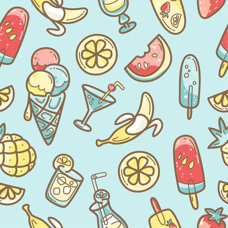 Kawaii cute seamless pattern with summer sweet food, ice-cream, fruits and coctails. Vector outline llustration