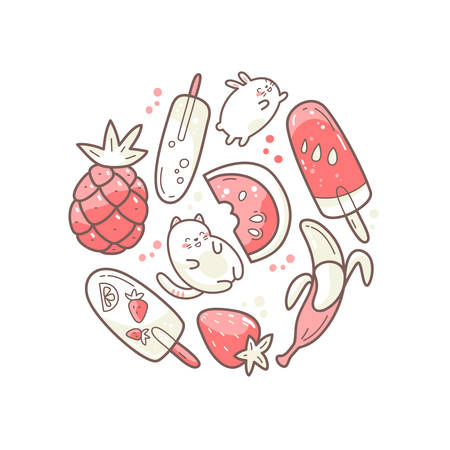 Kawaii cute round illustration with summer sweet food, ice-cream, fruits and funny characters jumping between desserts.
