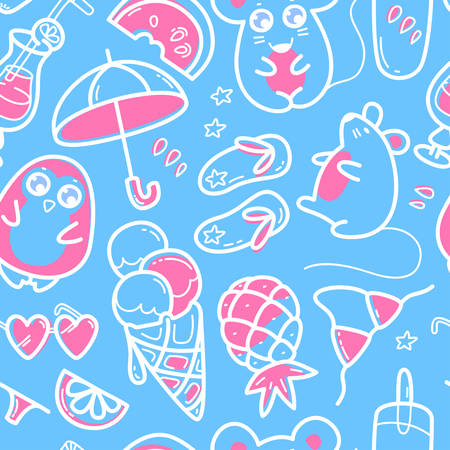 Kawaii seamless pattern with super cute animals penguin, mouse and summer sweet fruits, coctals and ice-cream and summer elements flip flops, bikini and umbrella. Vector outline llustration Ilustração