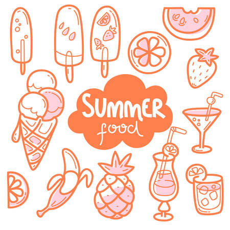 Kawaii cute collection of summer sweet food, ice-cream, fruits and coctails. Vector outline llustration