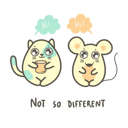Cute fat mouse and cat say Hi each other. Vector kawaii illustration