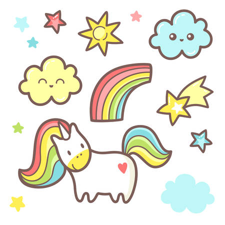 Set with cute unicorn graphic. Rainbow, cloud, stars and comet.
