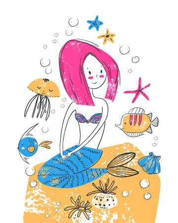 Card wirh cute beautiful mermaid sitting on the stone and sea animals. Scandinavian style. Illustration