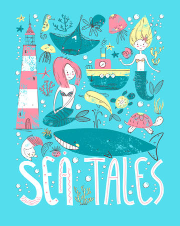 Poster sea tales with ocean symbols. Mermaids and sea animals, water transport and lighthouse. Illustration