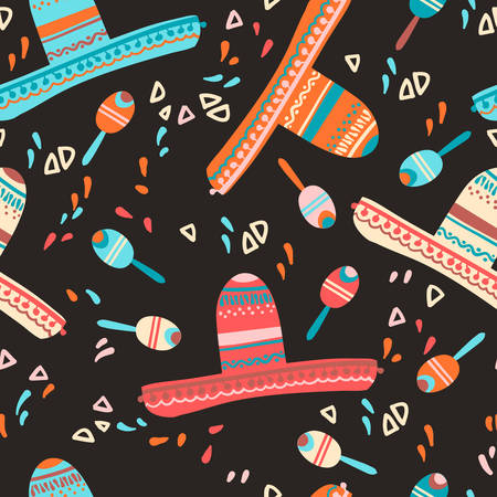 Seamless pattern with sombrero hat, maracas and decorative elements. Mexican children mood. Vector illustration.