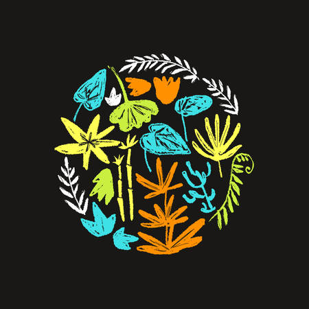Vector round illustration with hand drawn textured prehistoric plants. Naive kid drawn style. Tropical herbs. Ilustracja