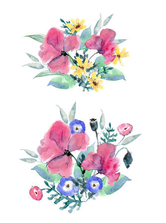 Watercolor wildflowers in the bouquet. Poppies, pansies, calendula and greenery. Round composition.