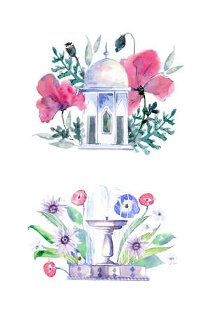 Arbor in flowers. Fountain in flowers. Decor elements