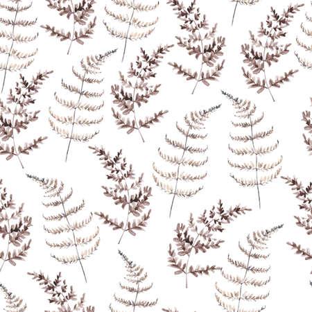 Watercolor seamless pattern with brown fern. Minimalist botanic