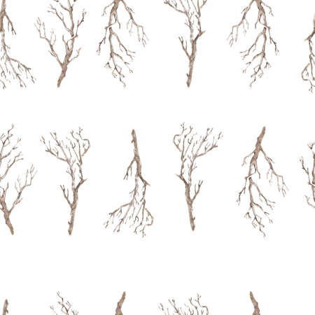 Watercolor seamless pattern with wooden brown branches