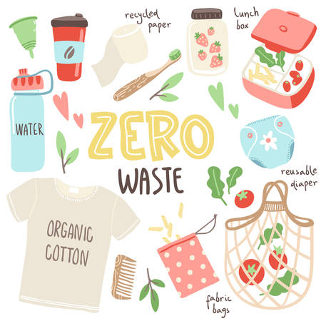 Vector set with hand drawn elements of zero waste life. No plastic. Go green 일러스트