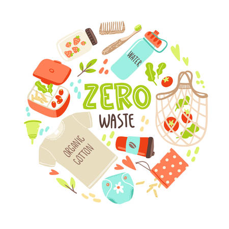 Vector round illustration with hand drawn elements of zero waste life. No plastic. Go green