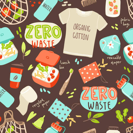 Vector seamless pattern with hand drawn elements of zero waste life. No plastic. Go green 일러스트