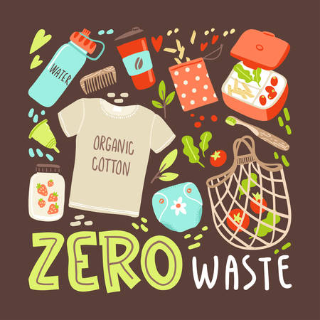Vector banner with hand drawn elements of zero waste life. No plastic. Go green 일러스트