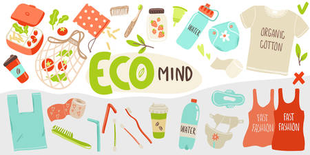 Vector poster with hand drawn elements of zero waste life and non-eco mind elements 일러스트
