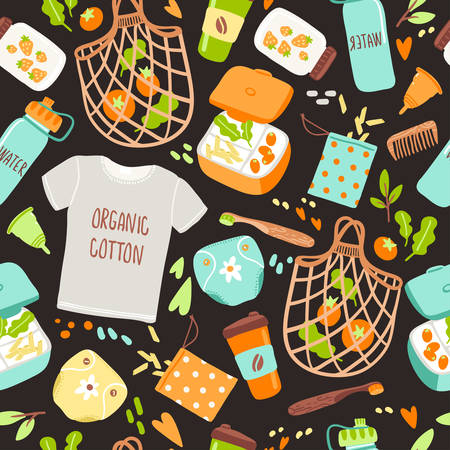 Vector seamless pattern with hand drawn elements of zero waste life. No plastic. Go green Ilustração