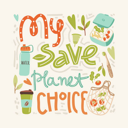 Vector banner with hand drawn elements of zero waste life. No plastic.My save planet choice