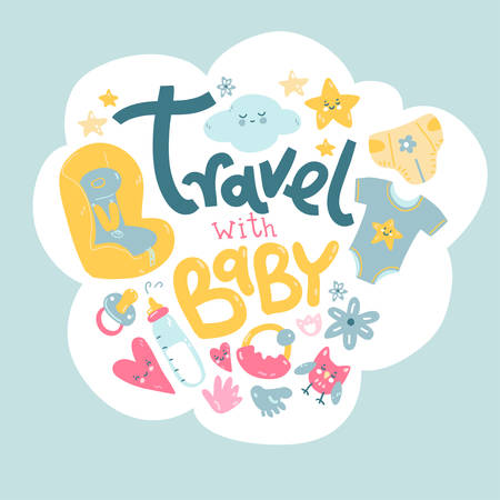 Travel with baby. What to take with you on a trip. In a cloud vector illustration. 일러스트