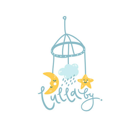 Baby mobile, cute illustration Lullaby hand lettering. Çizim