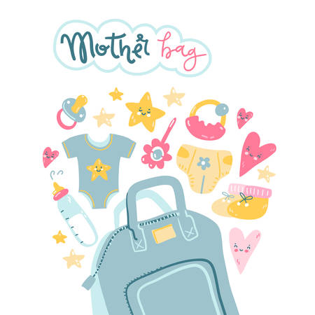 Mother bag. What to take with you on a walk. Vector illustration. 일러스트