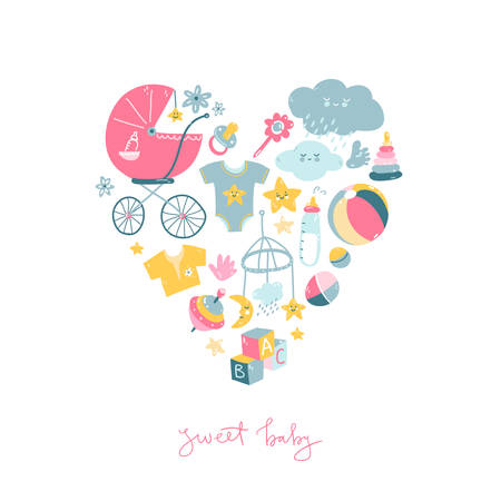 Newborn infant themed cute doodle illustrations in the heart shape