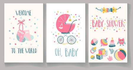 Set of baby shower cards. Welcome to the world, baby shower, oh, baby.