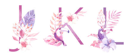 Watercolor Hand Drawn tropic letters. Uppercase J, K, L with jungle herbal decorations. Palm and monstera leaves, flowers and toucan.